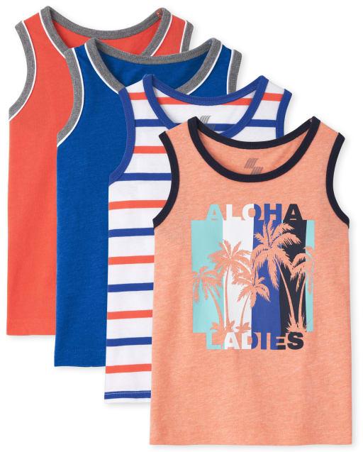 Pack de 4 camisetas sin mangas de rayas y aloha lisas para niños pequeños Mix And Match