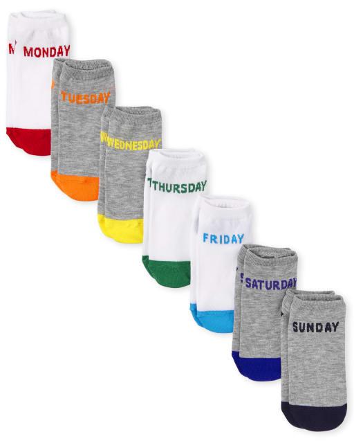Pack de 7 calcetines tobilleros unisex para niños de los días de la semana