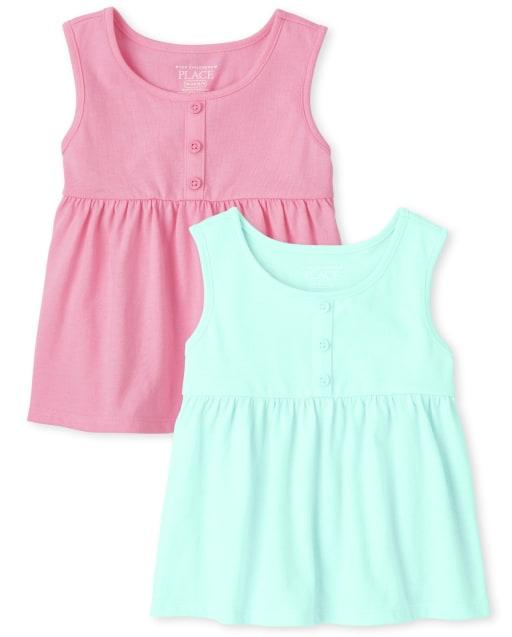 Pack de 2 camisetas sin mangas Empire sin mangas para niñas pequeñas