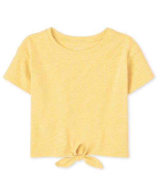 Top con lazo en la parte delantera de manga corta para bebés y niñas pequeñas