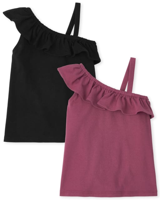 Toddler Girls Mix And Match Sleeveless One Shoulder Top 2-Pack
