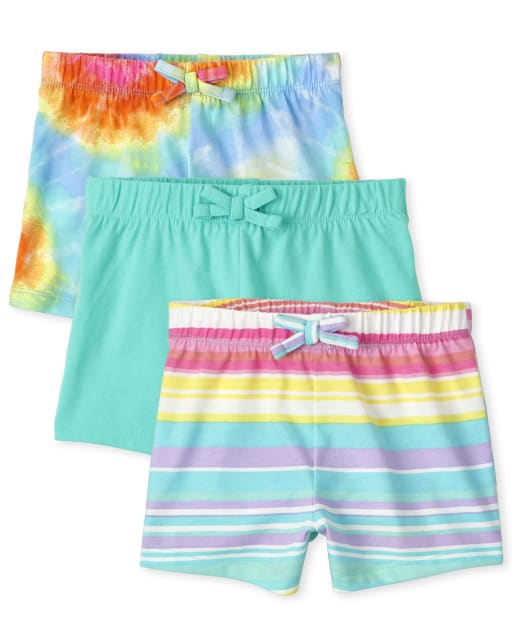 Toddler Girls Mix And Match Solid Rainbow Tie Dye And Rainbow Striped Knit Shorts 3-Pack