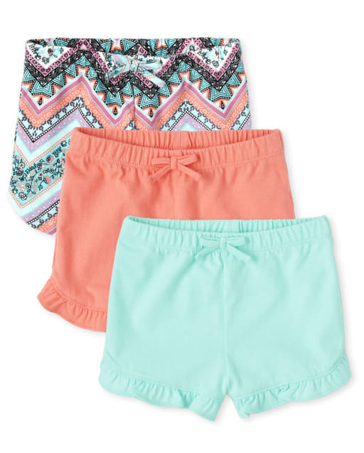 Toddler Girls Mix And Match Solid And Chevron Knit Ruffle Shorts 3-Pack