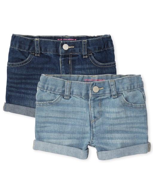 Paquete de 2 pantalones cortos de mezclilla con puños enrollados para niñas pequeñas