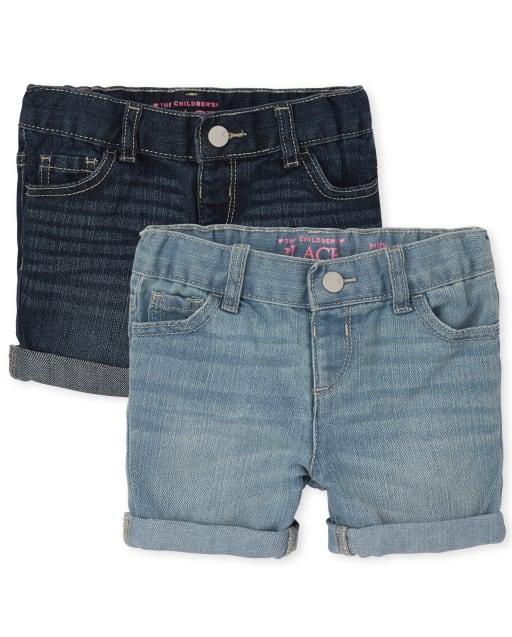 Pack de 2 pantalones cortos de mezclilla con puños enrollados para niñas pequeñas