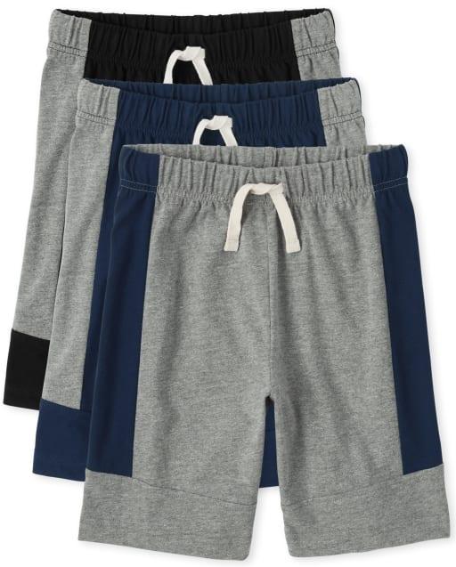 Pack de 3 pantalones cortos con bloques de color para niños