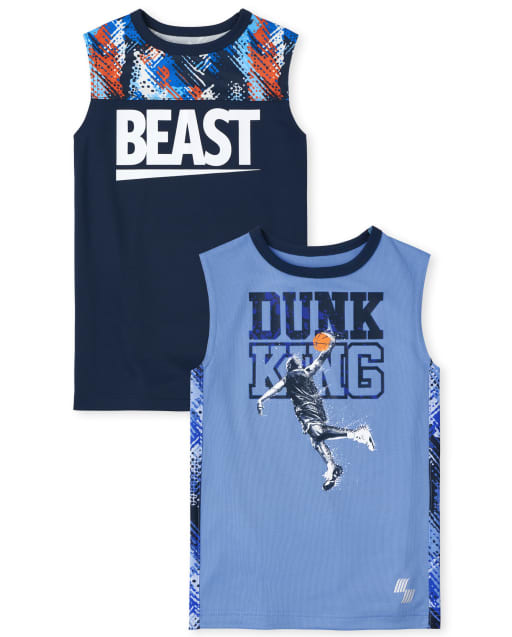 Boys PLACE Sport Sleeveless 'Beast' And 'Dunk King' Sports Graphic Performance Muscle Tank Top 2-Pack