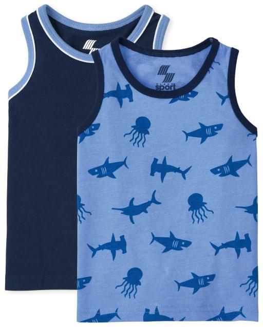 Pack de 2 camisetas sin mangas con bolsillo y estampado de océano sin mangas Mix And Match para niños pequeños