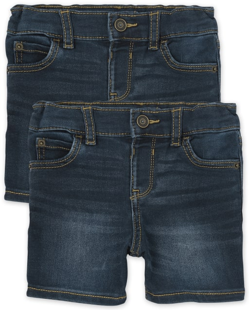 Paquete de 2 pantalones cortos de mezclilla elásticos supersuaves para bebés y niños pequeños