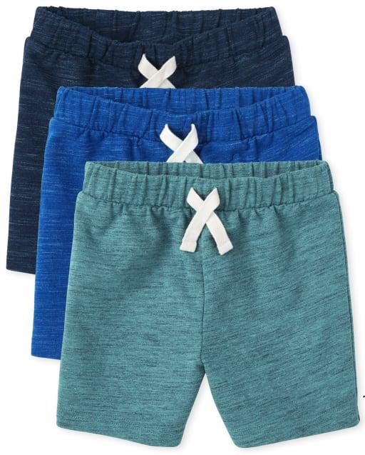 Paquete de 3 pantalones cortos de felpa francesa para niños pequeños