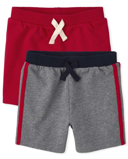 Paquete de 2 pantalones cortos de felpa francesa para niños pequeños