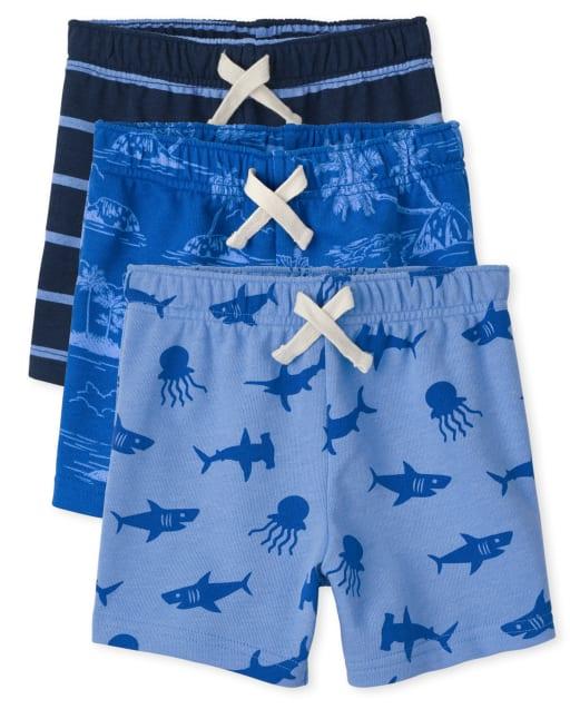 Paquete de 3 pantalones cortos de felpa francesa Ocean para niños pequeños