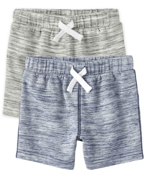 Paquete de 2 pantalones cortos de felpa francesa para bebés y niños pequeños