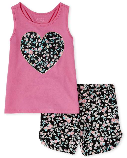 Conjunto de 2 piezas de camiseta sin mangas de punto de corazón sin mangas y pantalones cortos de punto con estampado floral para niñas pequeñas