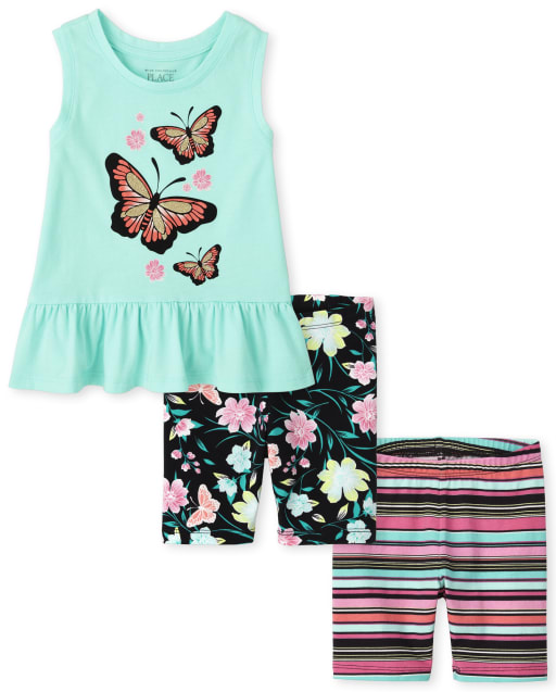 Conjunto de 3 piezas para niñas pequeñas Mix And Match sin mangas con estampado de mariposas y peplum con estampado de mariposas y pantalones cortos a rayas