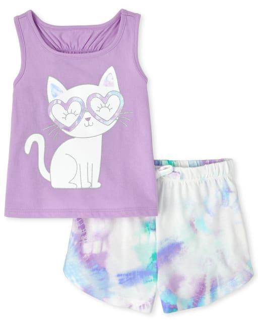 Conjunto de 2 piezas de camiseta sin mangas con estampado de gato sin mangas y pantalones cortos de punto con efecto tie dye para niñas pequeñas