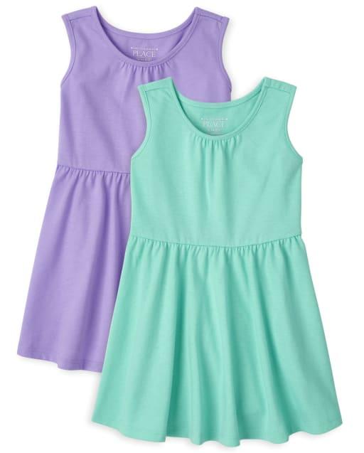 Vestido sin mangas para niñas pequeñas, paquete de 2