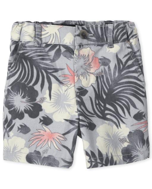 Shorts chinos tejidos con estampado tropical para bebés y niños pequeños
