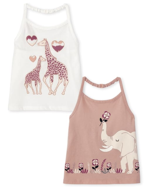 Toddler Girls Mix And Match Sleeveless Animal Graphic Halter Top 2-Pack