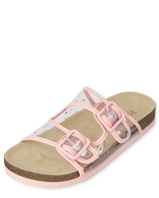 Girls Clear Star Buckle Slide Sandals