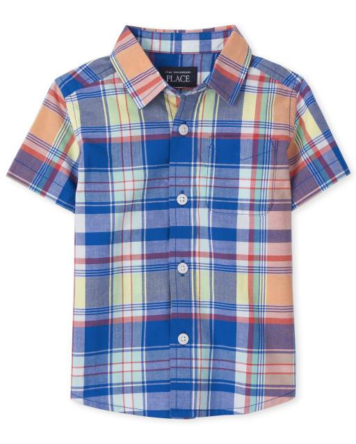 Camisa de popelina a cuadros de manga corta con botones a juego de papá y yo para bebés y niños pequeños