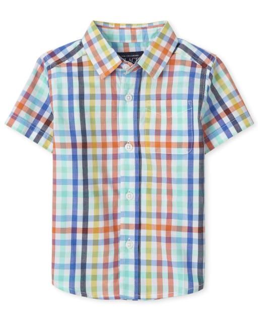Camisa con botones de popelina a cuadros de manga corta para bebés y niños pequeños