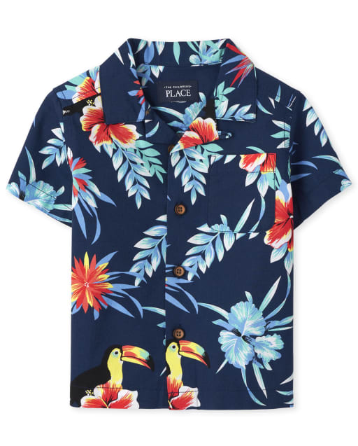 Baby And Toddler Boys Matching Family Short Sleeve Tropical Toucan Print Poplin Button Down Shirt