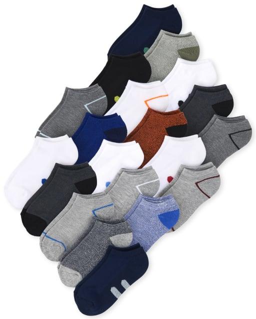 Pack de 20 pares de calcetines tobilleros acolchados a rayas para niños