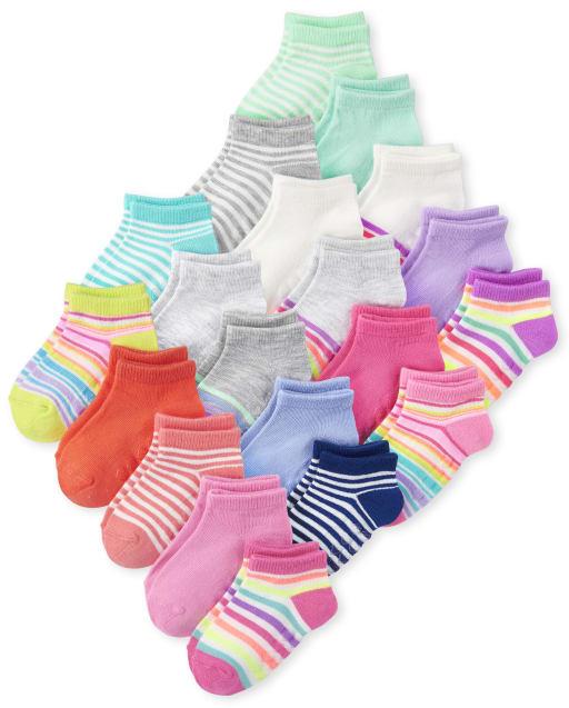 Toddler Girls Striped Ankle Socks 20-Pack