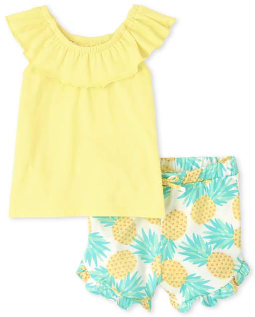 Conjunto de 2 piezas de pantalón corto con volantes y top con volantes y estampado floral de manga corta para niñas pequeñas