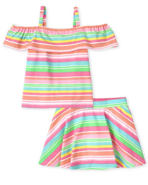 Conjunto de 2 piezas con falda y top con hombros descubiertos, sin mangas, con hombros descubiertos y rayas arcoíris Mix And Match, para niñas pequeñas