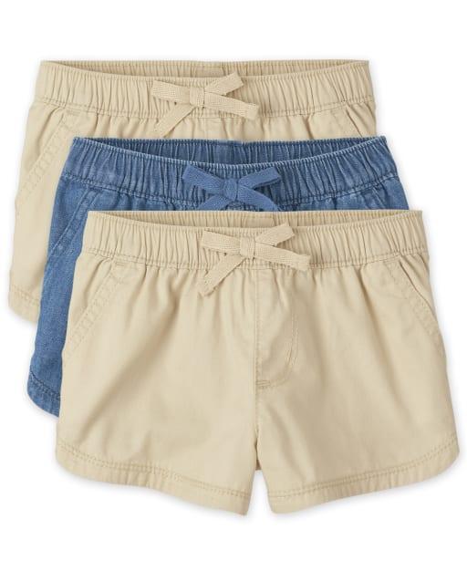 Paquete de 3 pantalones cortos tejidos sin tirantes para niñas pequeñas