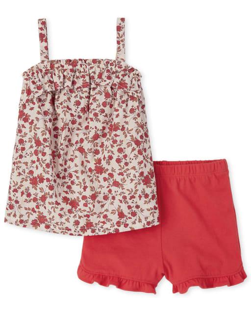Conjunto de 2 piezas de top sin mangas con volantes con estampado floral y pantalones cortos de punto con volantes para niñas pequeñas