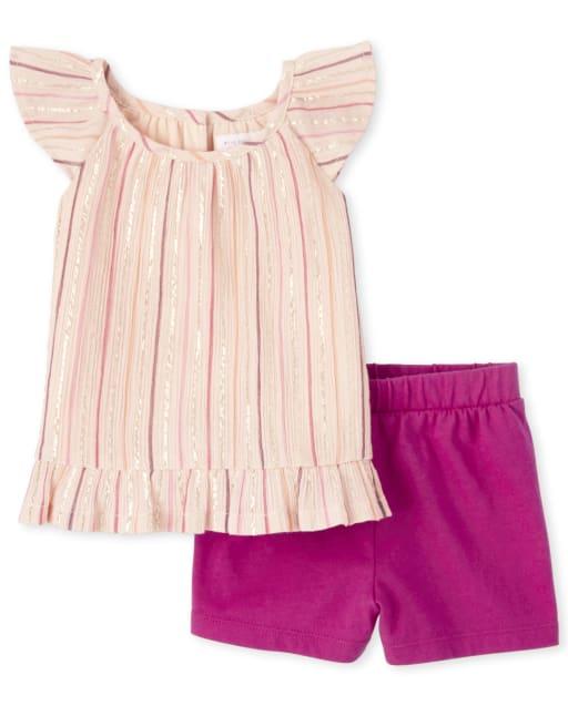 Conjunto de 2 piezas de top y pantalones cortos con volantes y rayas brillantes de manga corta para niñas pequeñas