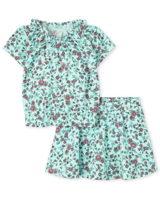 Conjunto de 2 piezas de falda y falda de punto con estampado floral y top fruncido de manga corta Mix And Match para niñas pequeñas