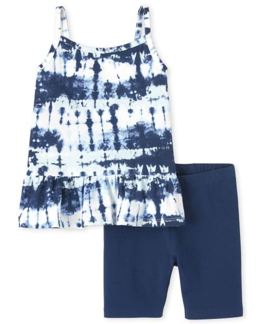 Conjunto de 2 piezas con top peplum sin mangas con efecto tie dye y pantalones cortos de punto para bicicleta para niñas pequeñas
