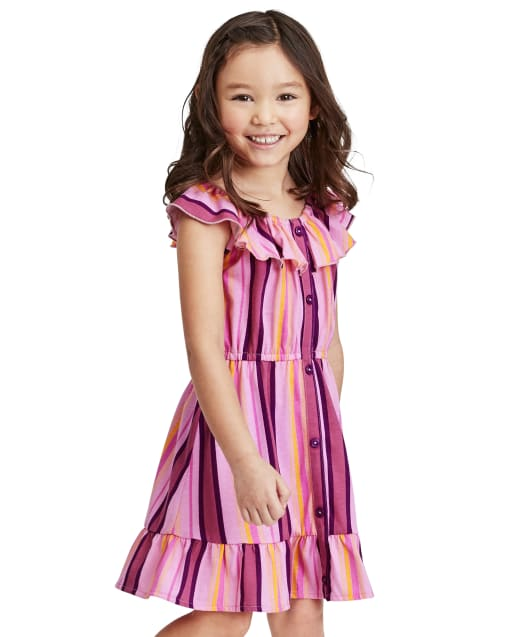Baby And Toddler Girls Mommy And Me Short Sleeve Striped Knit Matching Ruffle Dress