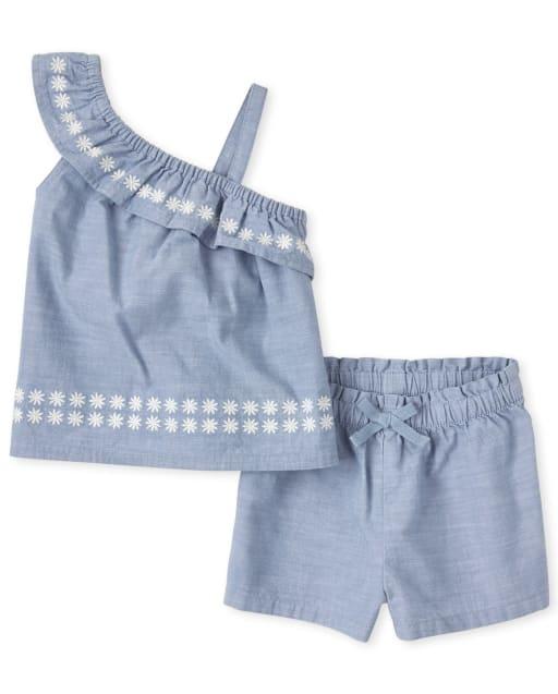 Conjunto de 2 piezas de top de cambray sin mangas con un hombro y pantalones cortos de cambray para niñas pequeñas