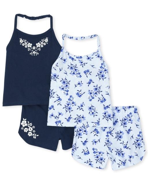 Conjunto de 4 piezas de blusas y pantalones cortos florales con cuello halter para niñas pequeñas