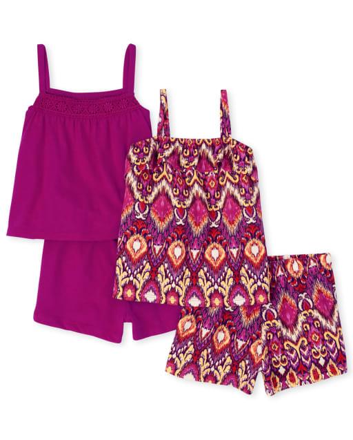 Conjunto de 4 piezas de top y pantalones cortos de crochet sin mangas con volante y top sin mangas Mix And Match para niñas pequeñas
