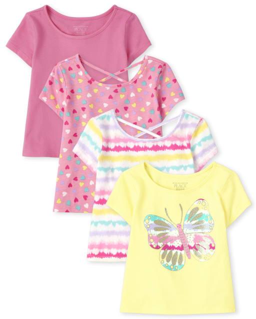 Paquete de 4 camisetas básicas con capas con estampado de manga corta para niñas pequeñas
