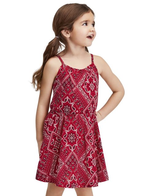Vestido estilo bandana americana para bebés y niñas pequeñas