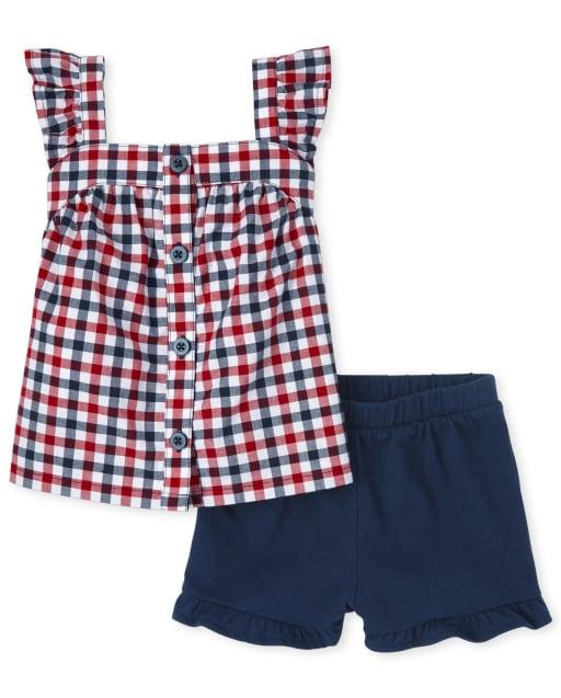 Conjunto de 2 piezas de camisa de popelina de popelina con volantes a cuadros sin mangas y pantalones cortos de punto con volantes para niñas pequeñas