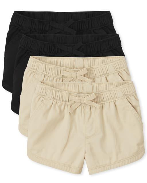 Paquete de 4 pantalones cortos tejidos sin tirantes para niñas pequeñas