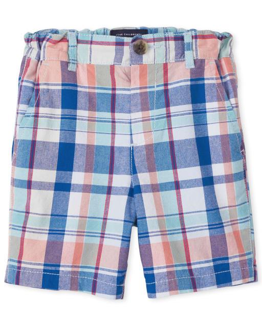 Shorts chinos tejidos a cuadros para bebés y niños pequeños