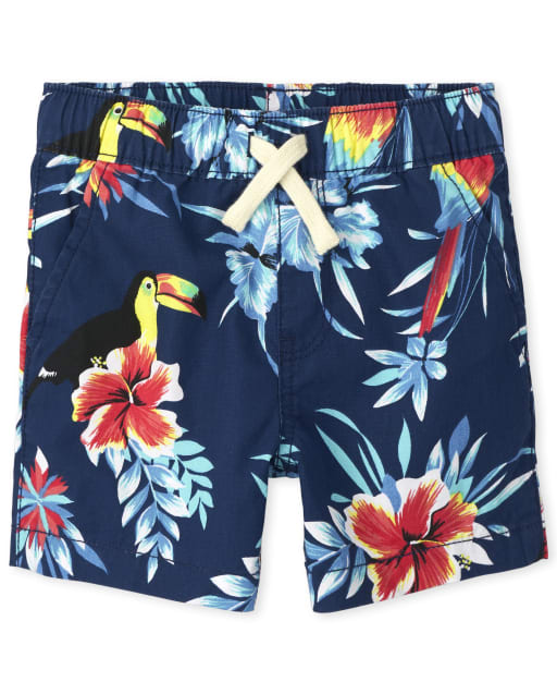 Baby And Toddler Boys Tropical Print Woven Pull On Jogger Shorts