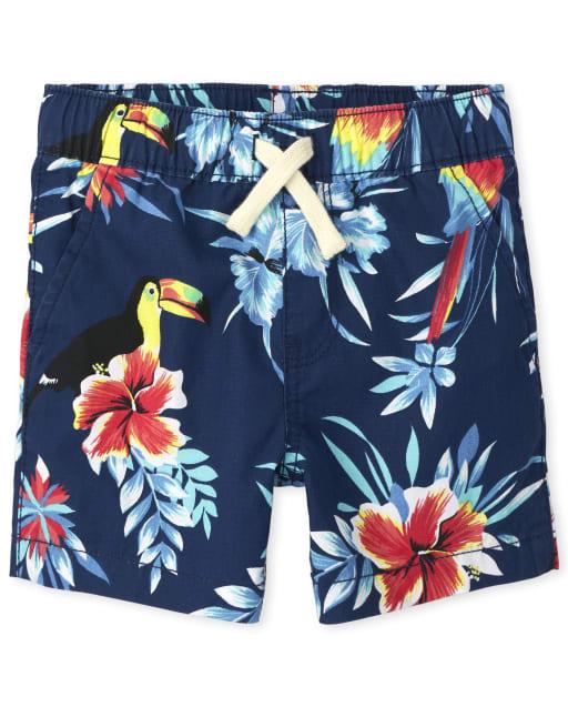 Shorts joggers tejidos con estampado tropical para bebés y niños pequeños