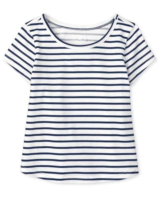 Top a rayas de manga corta para bebés y niñas pequeñas