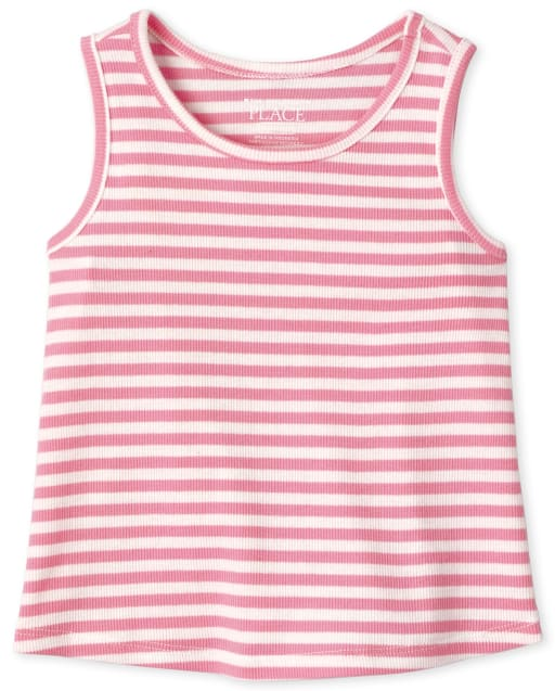Baby And Toddler Girls Sleeveless Striped Ribbed Tank Top