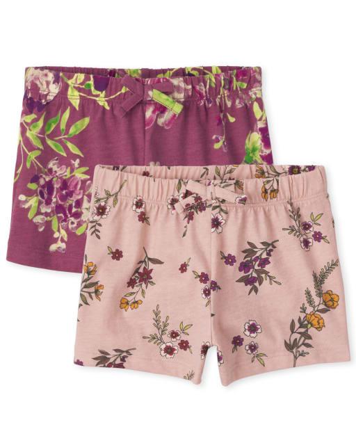 Paquete de 2 pantalones cortos con estampado de punto Mix And Match para niñas pequeñas